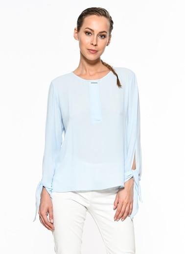 Setre Kol Bağlama Detaylı Bluz Mavi